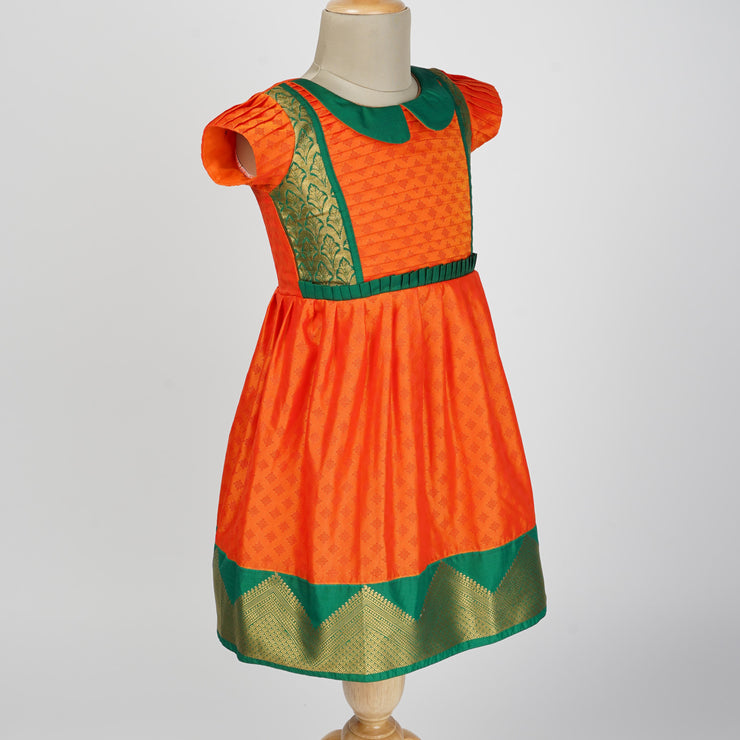 The Nesavu Frocks & Dresses Pure Silk Design Inspired Orange Pattu Designer Frock psr silks Nesavu