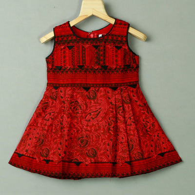 Red Paisley Pattern Bagh Print Cotton Frock - thenesavu