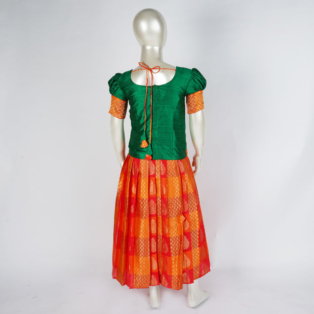 The Nesavu Pattu Pavadai Royal Green Kids Pattu Pavadai Design With Princess Line, Gathered Sleeve psr silks Nesavu