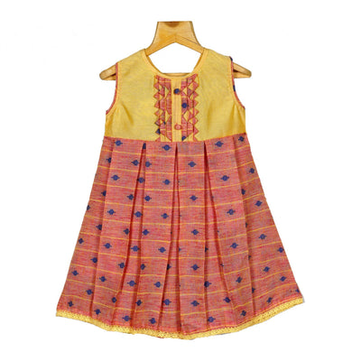 Salmon Yellow Rayon Cotton Dobby Hand Woven Girls Casual Wear Dress - thenesavu