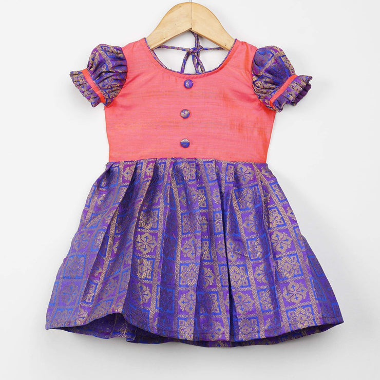 The Nesavu Frocks & Dresses Semi Banarasi Silk Fabric Stylish Baby Frocks psr silks Nesavu 0M-6M / purple GFC134A