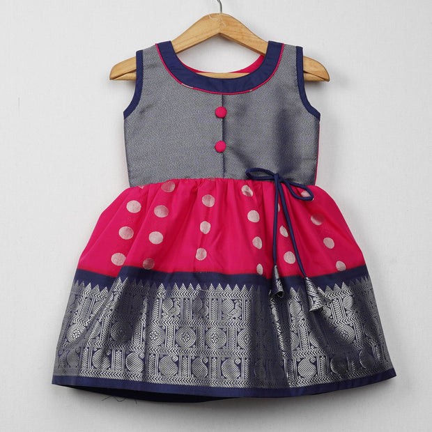 The Nesavu Frocks & Dresses Silver Zari Pink With Navy Cute Frocks for Girl psr silks Nesavu 0M-6M / deeppink GFC142A