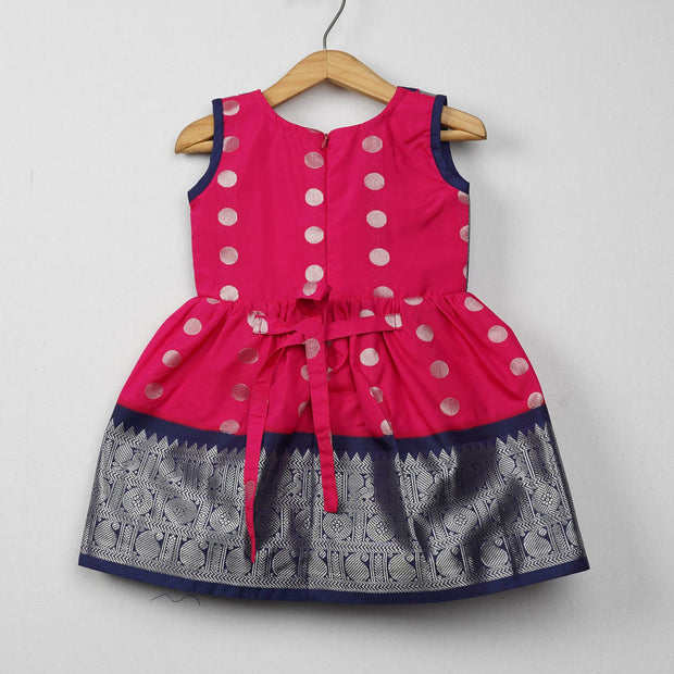 The Nesavu Frocks & Dresses Silver Zari Pink With Navy Cute Frocks for Girl psr silks Nesavu