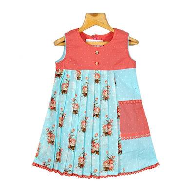 The Nesavu Frocks & Dresses Sky Blue Dobby Printed Girls Cotton Casual Wear Frock Dress psr silks Nesavu 16 / Pink / Cotton KGC50