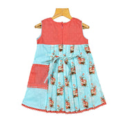 Sky Blue Dobby Printed Girls Cotton Casual Wear Frock Dress - thenesavu