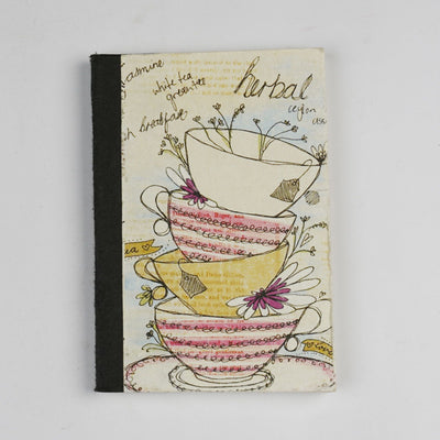 Papa Taka Notebooks Small Cute Diary Tea Theme Made of Hand Made Paper Blank Diary psr silks Nesavu cup and saucer PNJ091A