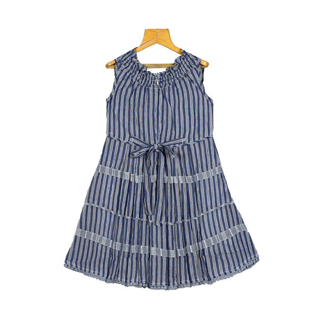 Smoking Neck Woven Strip Soft Cotton Baby Girls Casual Peasant Dress - thenesavu