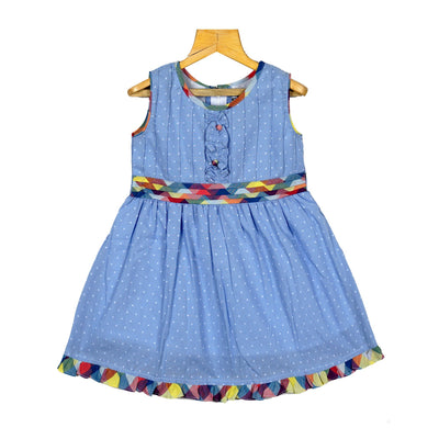 The Nesavu Frocks & Dresses Steel Blue Girls Cotton Dobby Casual Wear Frock Dress psr silks Nesavu 16 KGC51