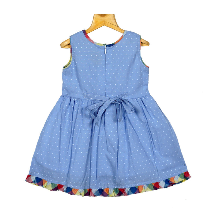 The Nesavu Frocks & Dresses Steel Blue Girls Cotton Dobby Casual Wear Frock Dress psr silks Nesavu