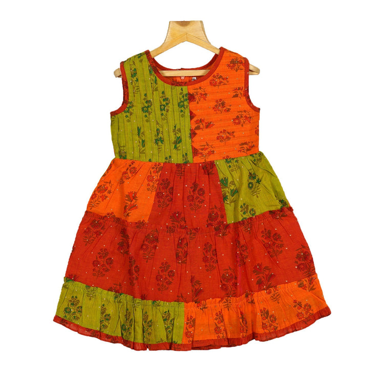 The Nesavu Frocks & Dresses Stunning Hand Block Printed Handwoven Girls Casual Play Wear Dress psr silks Nesavu 20 / Multicolours / Cotton KGC30
