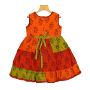 The Nesavu Frocks & Dresses Stunning Hand Block Printed Handwoven Girls Casual Play Wear Dress psr silks Nesavu