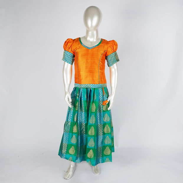 Stunning Yellow Aqua Pattu Paavadai With Princess Line and Cute Detailing for Kids - thenesavu
