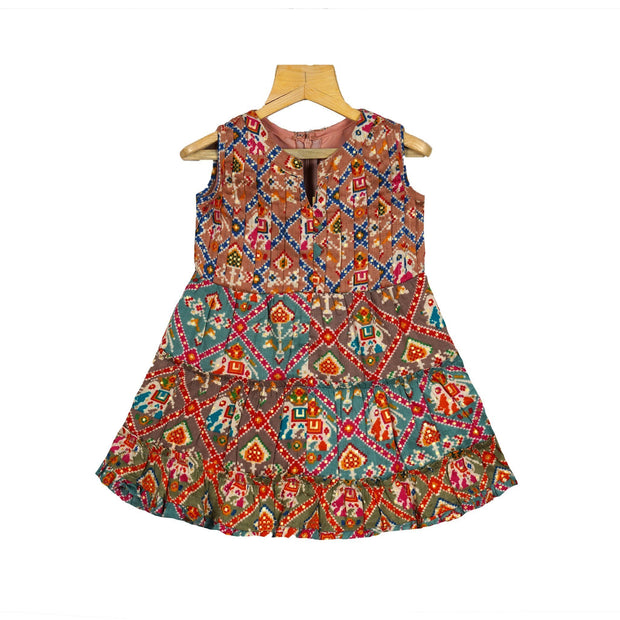 Stylish Printed Patola Cotton Layered Casual Wear Dress For Girls - thenesavu