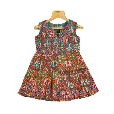 Stylish Printed Patola Cotton Layered Traditional Dress For Girls - thenesavu