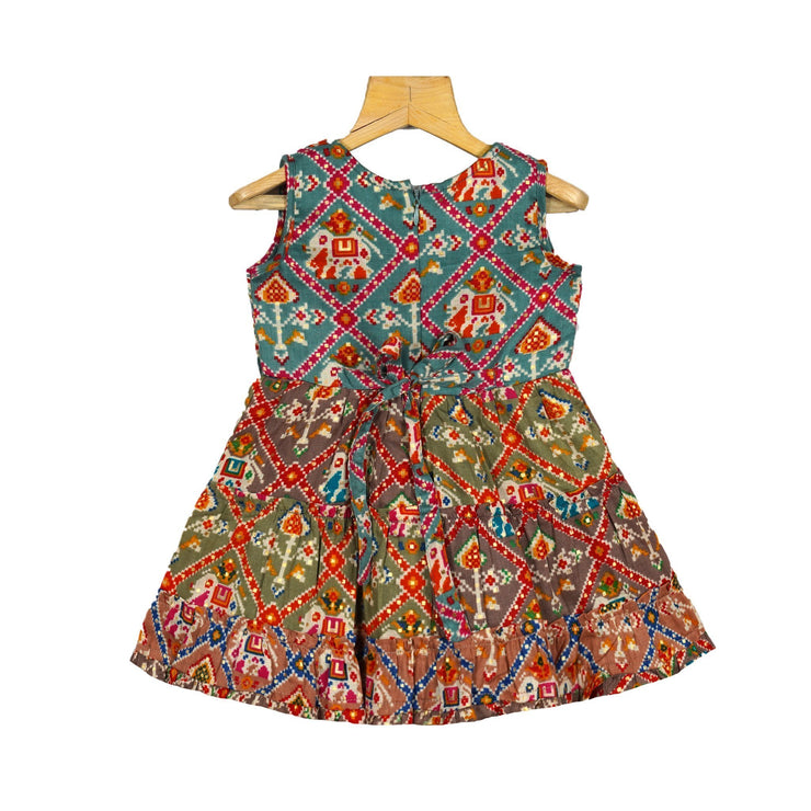The Nesavu Frocks & Dresses Stylish Printed Patola Cotton Layered Traditional Dress For Girls psr silks Nesavu