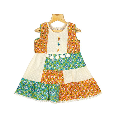 The Nesavu Frocks & Dresses Traditional Hand Printed Girls Cotton Dobby Casual Wear Frock Dress psr silks Nesavu 22 / Multicolour / Cotton KGC12