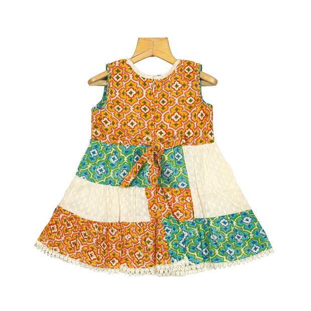 Traditional Hand Printed Girls Cotton Dobby Casual Wear Frock Dress - thenesavu