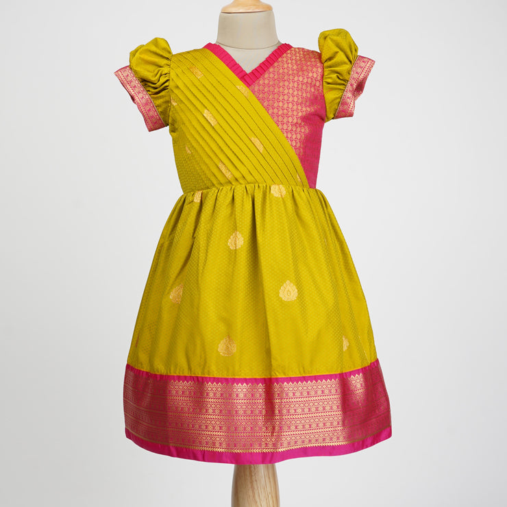 The Nesavu Frocks & Dresses Traditional Indian Ethnic Girls Silk Designer Frocks psr silks Nesavu 1Y-2Y / yellowgreen GFC169A