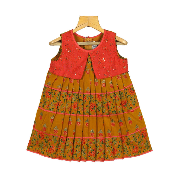 The Nesavu Frocks & Dresses Traditional Jaipur Printed Girls Cotton Dress With Attached Jacket psr silks Nesavu 20 KGC37