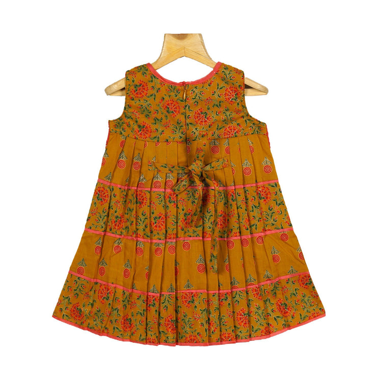 The Nesavu Frocks & Dresses Traditional Jaipur Printed Girls Cotton Dress With Attached Jacket psr silks Nesavu