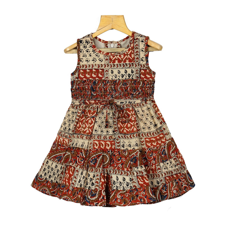 Traditional Kalamkari Girls Cotton Casual Play Wear Frock Dress For Girls - thenesavu