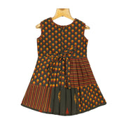 Traditional Trendy Mughal Printed Girls Cotton Casual Wear Frock Dress - thenesavu