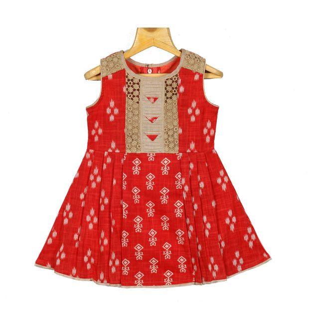 Trendy Girls Cotton Printed Ikat Casual Wear Frock Dress - thenesavu