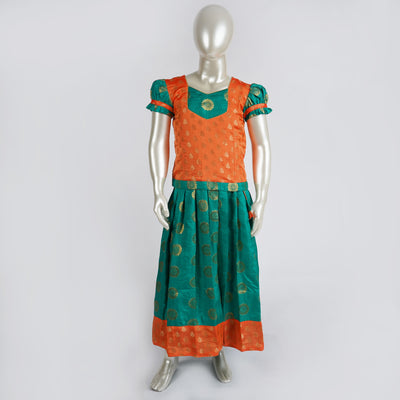 Trendy Girls Pattu Pavadai Set / Lehenga With Zari Jacquard and Sweetheart Yoke Neck - thenesavu