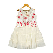 The Nesavu Frocks & Dresses Trendy Smoking Neck Embroidered Peplum Girls Cotton Casual Wear Dress psr silks Nesavu 24 / Off White KGC29
