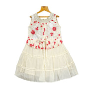 The Nesavu Frocks & Dresses Trendy Smoking Neck Embroidered Peplum Girls Cotton Casual Wear Dress psr silks Nesavu