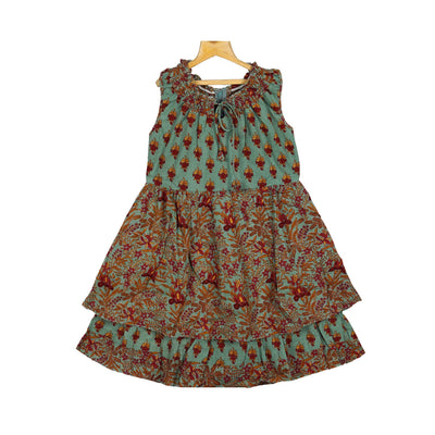 The Nesavu Frocks & Dresses Trendy Teal Indian Print Cotton Casual Wear Peasant Dress For Baby Girl psr silks Nesavu 28 / SeaGreen KGC35