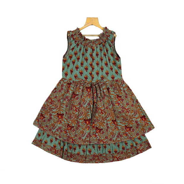 The Nesavu Frocks & Dresses Trendy Teal Indian Print Cotton Casual Wear Peasant Dress For Baby Girl psr silks Nesavu