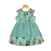 Turquoise Fine Embroidered Yoke Girls Crush Cotton Georgette Casual Wear Dress - thenesavu