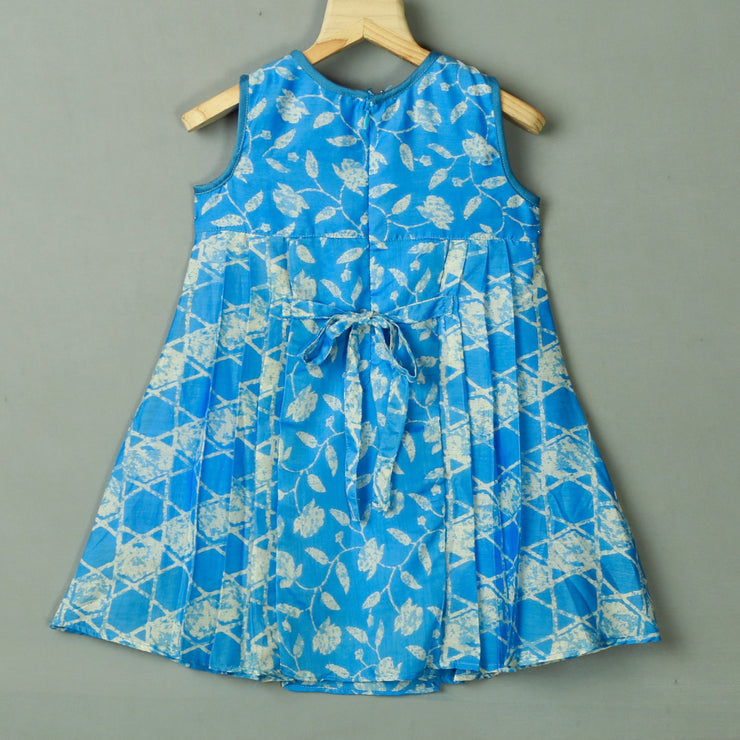 Turquoise Floral Rayon A-Line Cotton Frock For Daily Wear - thenesavu