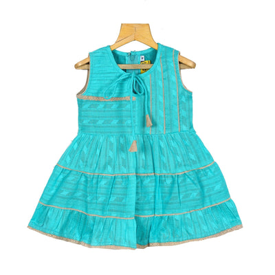 Turquoise Gypsy Frock Baby Girls Cotton Casual Wear Frock Dress - thenesavu