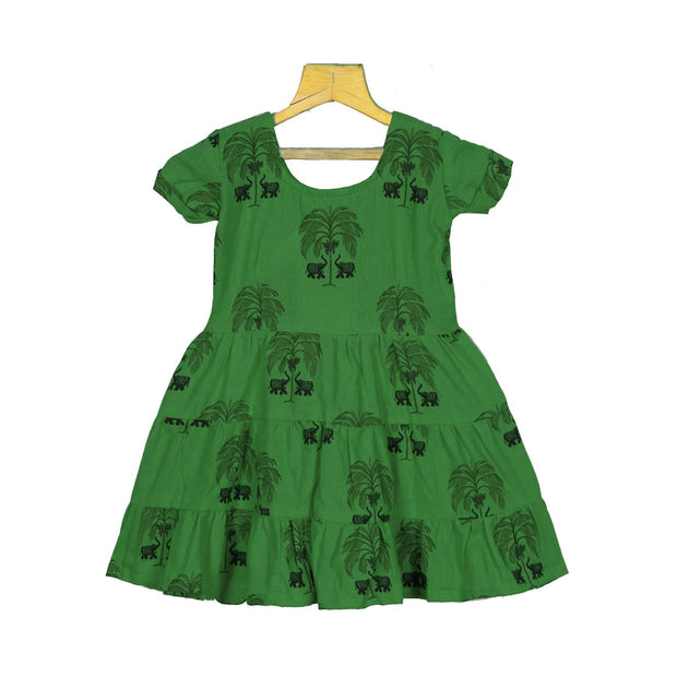 The Nesavu Frocks & Dresses Unique Hand-block Printed Kids Girls Daily Wear Cotton Frock psr silks Nesavu 1Y/2Y / GREEN / Cotton KGC24