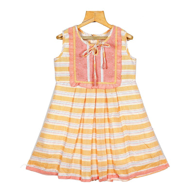 Unique Woven Striped Embroidered Yoke Cotton Casual Dress - thenesavu