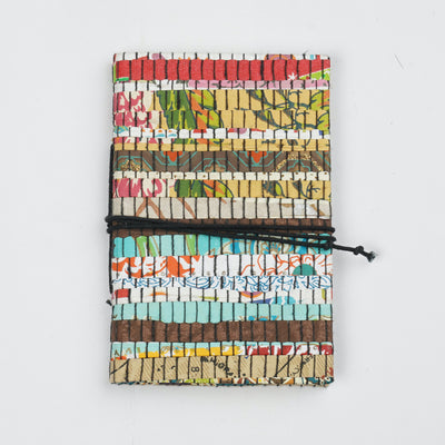 Papa Taka Journals & Diaries Up cycled handmade paper mat weaved cover notebook journals psr silks Nesavu Multi strips 1 PNJ074A