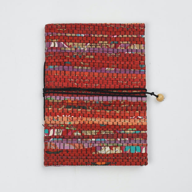Papa Taka Journals & Diaries Up cycled handmade paper mat weaved cover notebook journals psr silks Nesavu Red strips small PNJ074D
