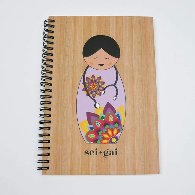 Sei Gai Notebooks Wood Textured Journal Notebook By Sei Gai For Covidesta psr silks Nesavu SEIGAI06