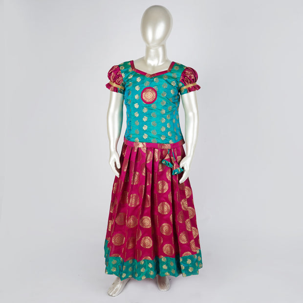 Woven Silk Kids Pavada Satta Sweetheart Neck, Tassels & Circle Butta - thenesavu