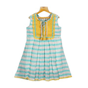 The Nesavu Frocks & Dresses Woven Striped Embroidered Yoke Cotton Casual Dress psr silks Nesavu 22 / Mint / Cotton KGC14