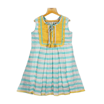 Woven Striped Embroidered Yoke Cotton Casual Dress - thenesavu