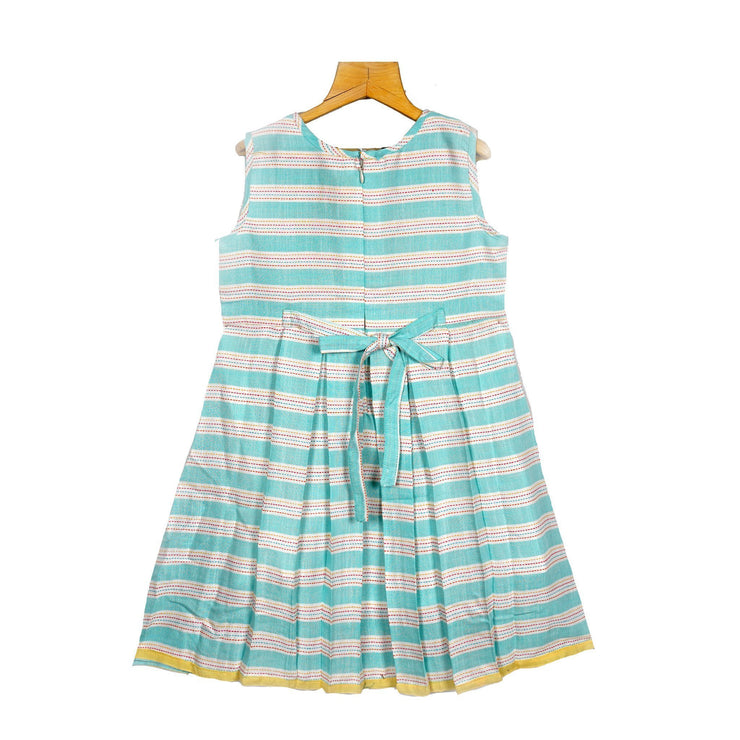 The Nesavu Frocks & Dresses Woven Striped Embroidered Yoke Cotton Casual Dress psr silks Nesavu