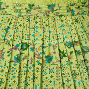 The Nesavu Frocks & Dresses Yellow Green Sequence Embroidered Yoke Girls Traditional Printed Dress psr silks Nesavu