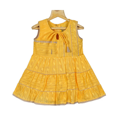 Yellow Gypsy Frock Baby Girls Cotton Casual Wear Frock Dress - thenesavu