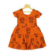 Yellow Indian Traditional Hand Block Printed Girls Cotton Casual Dress - thenesavu