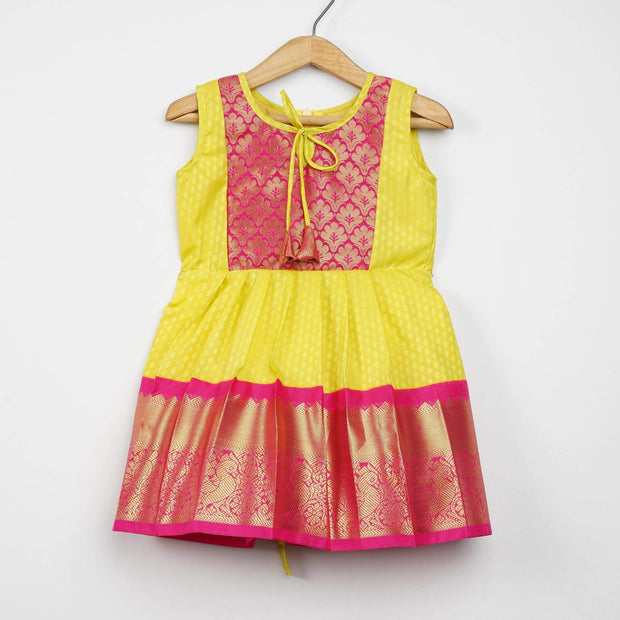The Nesavu Frocks & Dresses Yellow Saree With Pink Border Pattu Designer Frocks for Baby Girl psr silks Nesavu 0M-6M / darkturquoise GFC119A