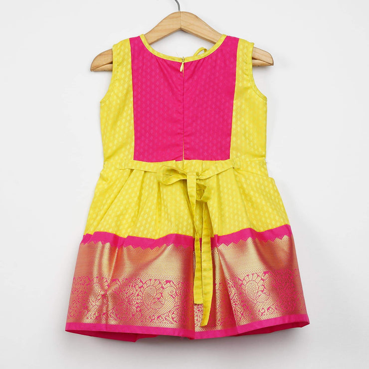 The Nesavu Frocks & Dresses Yellow Saree With Pink Border Pattu Designer Frocks for Baby Girl psr silks Nesavu
