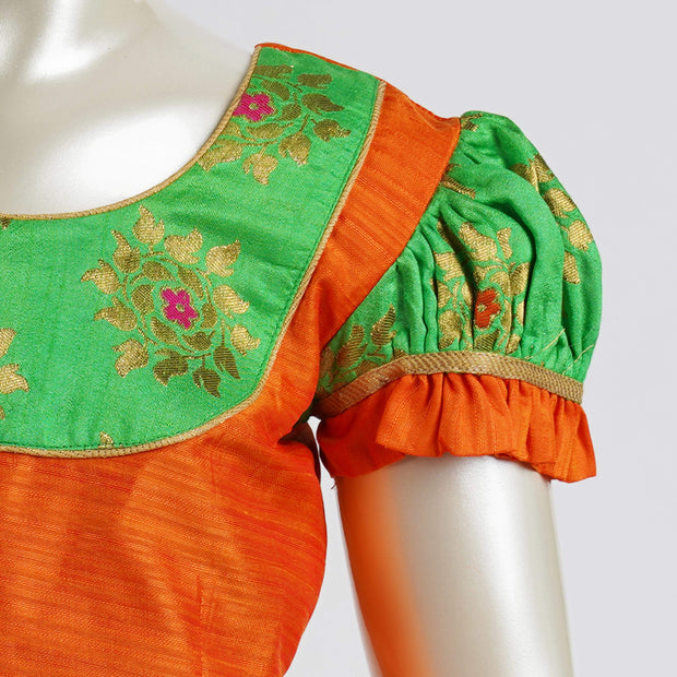 Zari Brocade Leaf Green Kids Pattu Langa Contrast Combo and Yoke Blouse - thenesavu